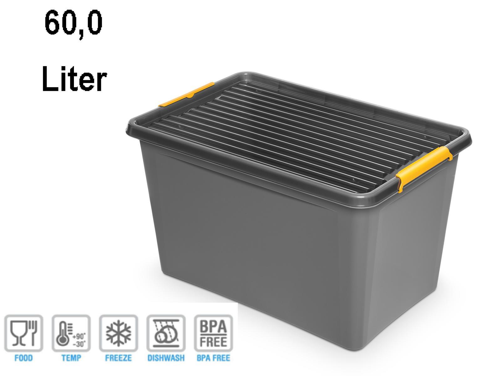 ORPLAST SolidStore box 60 Liter mit Deckel / Clips ...