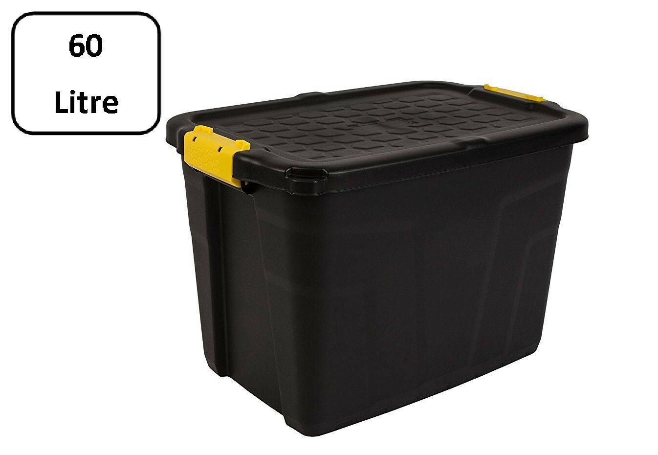 La Boite Jaune Prix strata boîte de rangement à usage intensif, coffre sécurisé empilable - 60  litres - 60 x 40 x 40 cm - résistant à 630 kg - noir / jaune