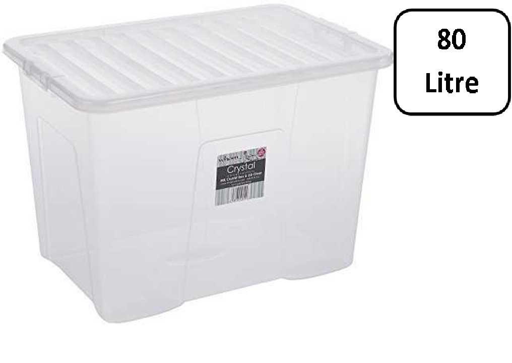 wham crystal box met gesloten deksel 80 liter 60 x 40 x 42cm transparant. Black Bedroom Furniture Sets. Home Design Ideas