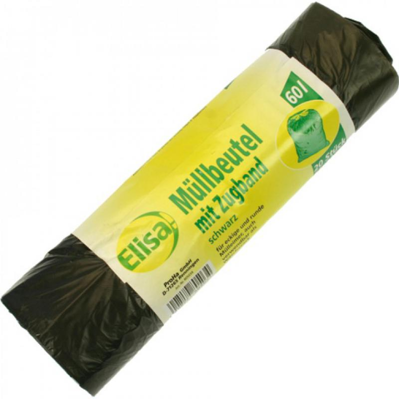 20 pieces garbage bags 60 liters, 62 x 72 cm, with drawstring, on roll -  black